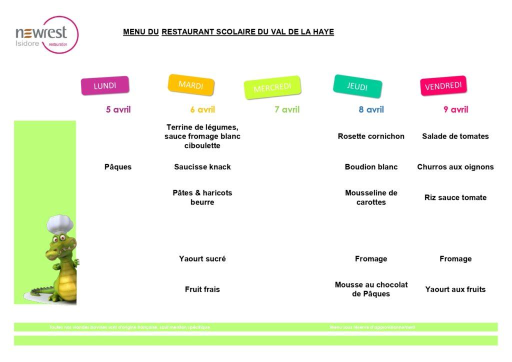 menu scolaire avril 1
