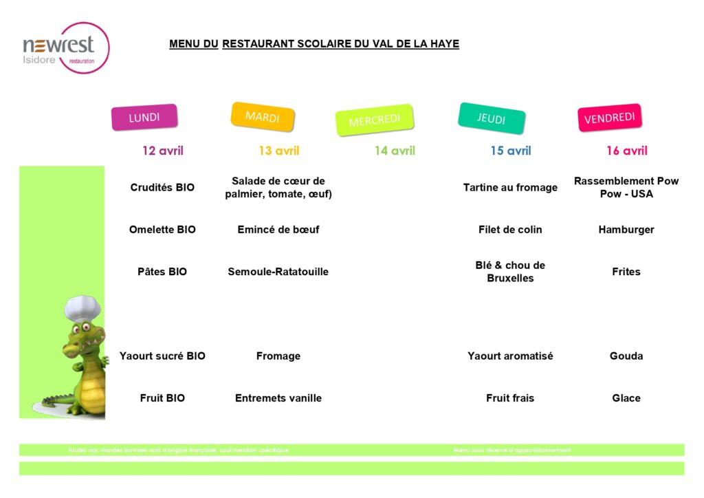 menu scolaire avril 2