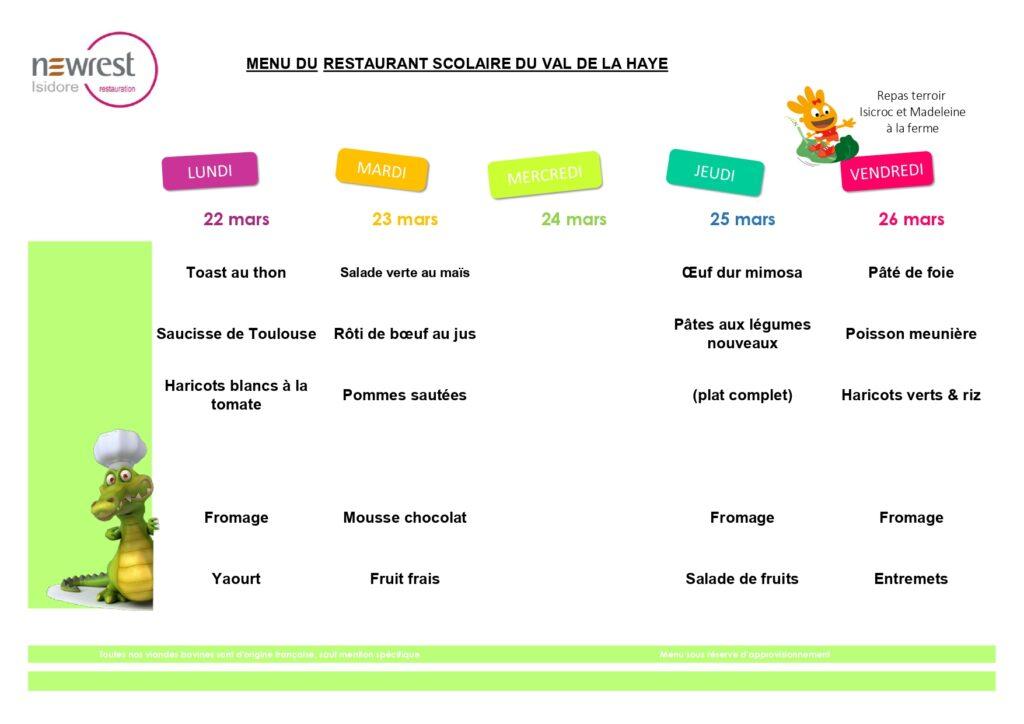 menu scolaire mars 2