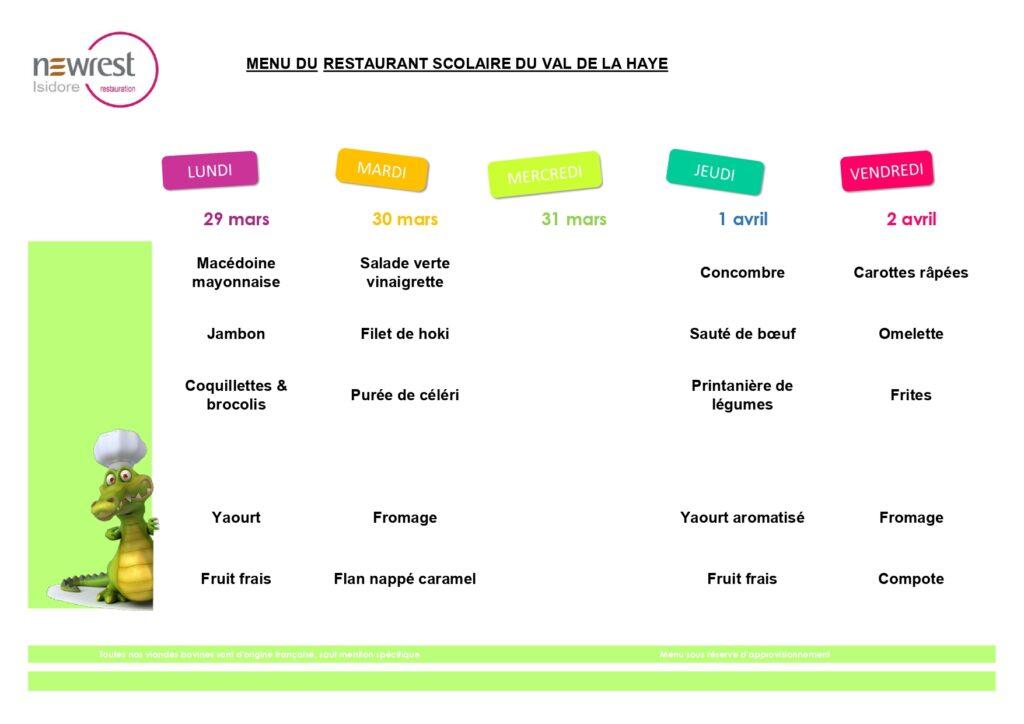 menu scolaire mars 3