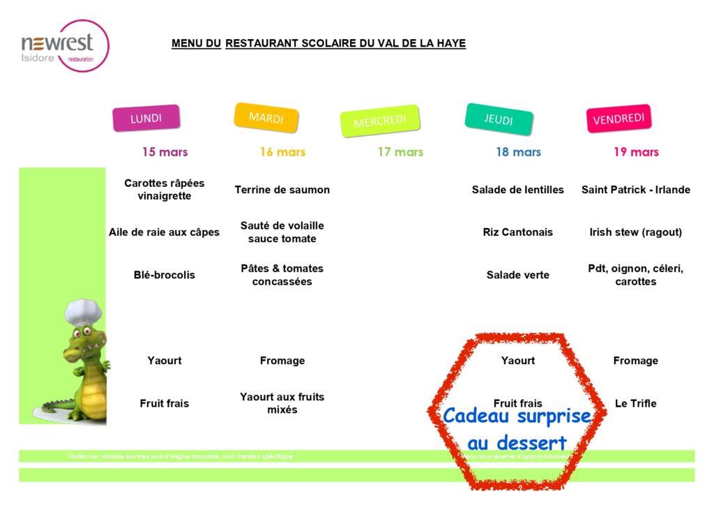 menu scolaire mars 1